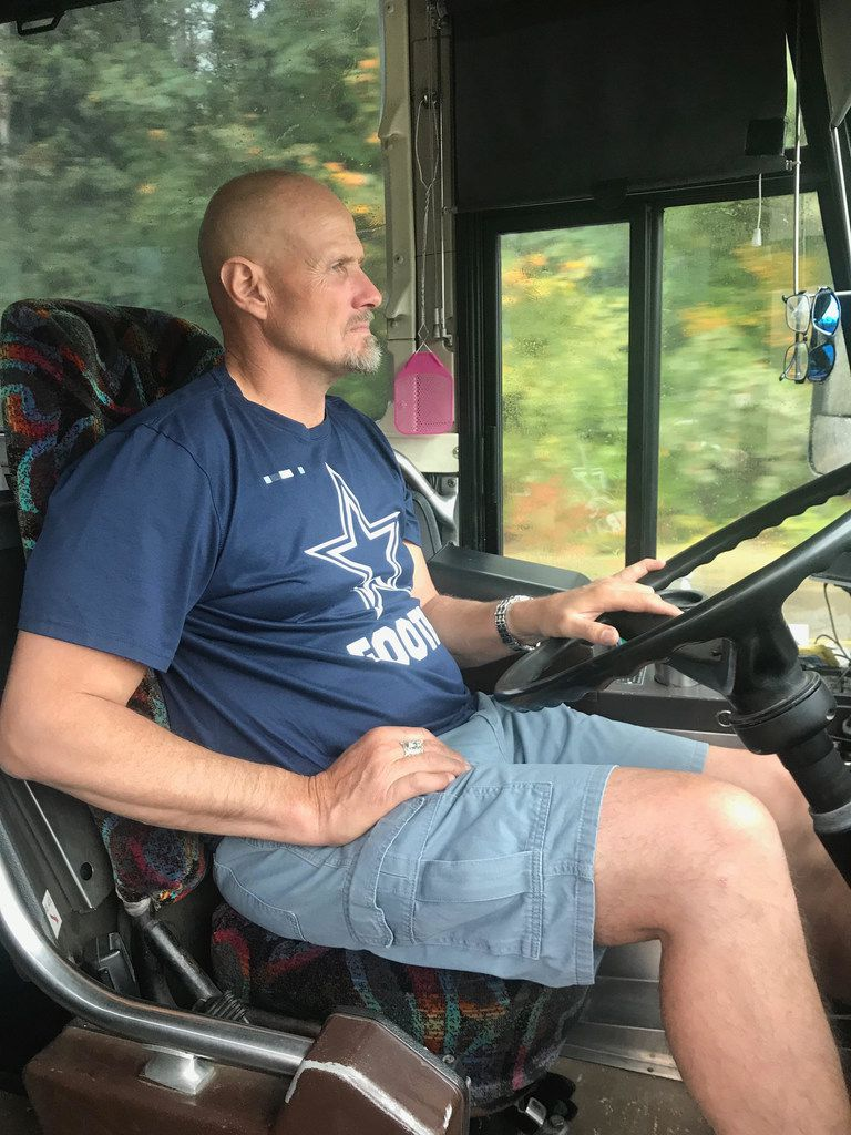 Darwin Vander Esch, the father of Cowboys rookie Leighton Vander Esch, drives the family bus on a trip from the rookie's hometown in Riggins, Idaho, to Seattle for the Cowboys game on Sept. 23, 2018.