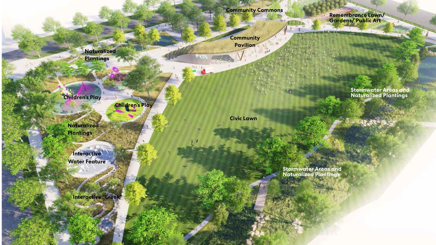 Un plano con el diseño del futuro parque comunitario en Fair Park, que fue aprobado el miércoles por el Concejo de Dallas.