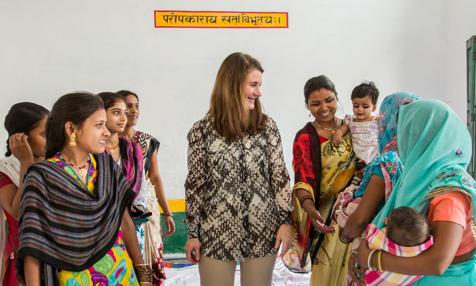 Melinda Gates, Co-chair of Bill and Melinda Gates Foundation, interacts with young married women who belong to a YWSHG (Young Women Self Help Group) in a room in the Government Primary School during her visit to Kola village, Barabanki District, Uttar Pradesh, India on March 13, 2016.