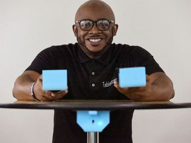 Mel Jackson, an alumnus from The University of Texas at Arlington, turned to his alma mater for help perfecting a prototype of his invention, a hand sanitizer dispenser that attaches to tables.