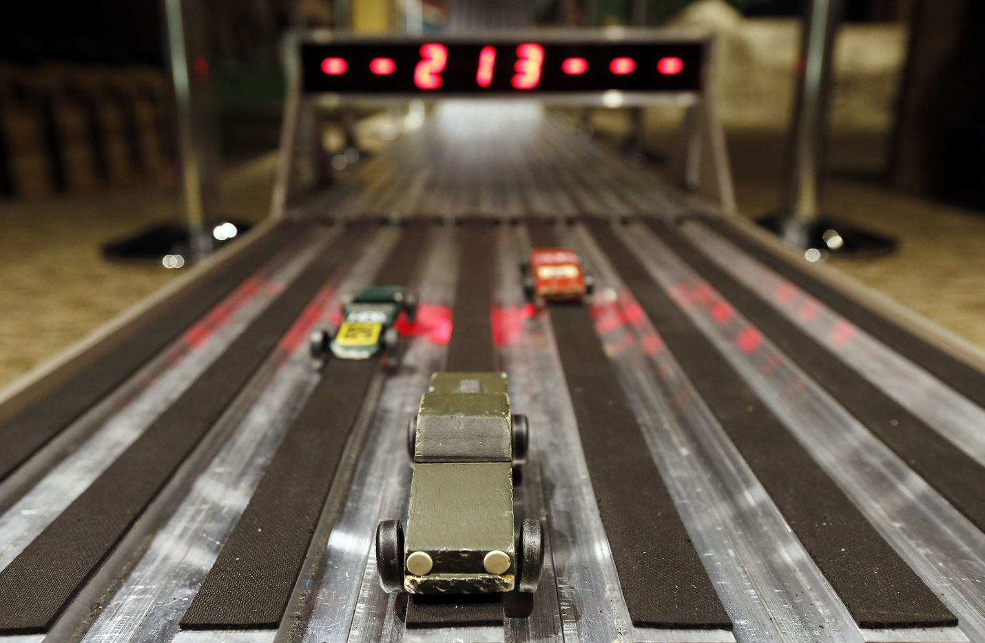 Visitors can race pinewood derby cars on a   six-lane track at the National Scouting Museum. (2015 File Photo/Brandon Wade)
