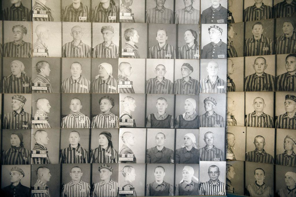 Photos of inmates on display at Auschwitz-Birkenau, the former concentration camp that is now a museum, in Oswiecim, Poland, April 10, 2015. A new survey found that many Americans lack basic knowledge of the Holocaust -- especially 18 to 34-year-olds, or so-called millenials.