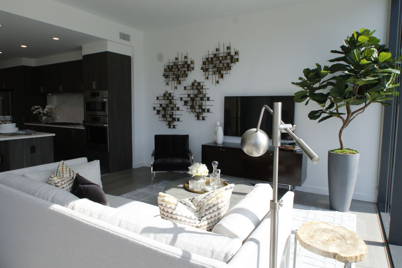 A model apartment in the new Residences at Park District high-rise overlooking Klyde Warren Park.