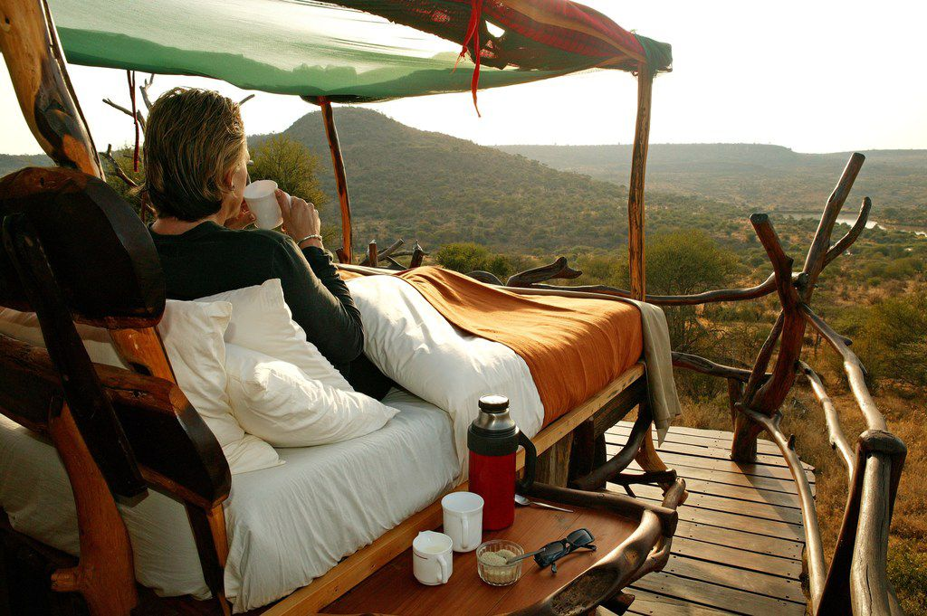 Guests have a clear view of the sky and the surrounding 57,000 acres of wilderness at the Loisaba Star Beds