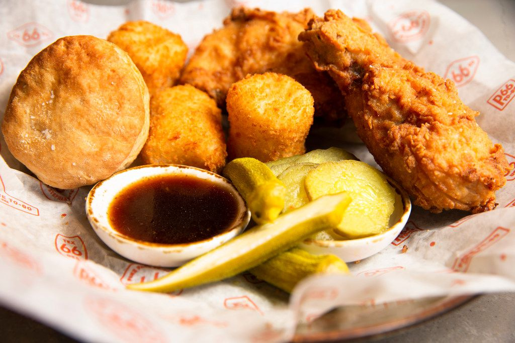 Chef Stephen Pyles's Shiner Honey fried chicken with mashed potato tots are a chef favorite at Stampede 66. The new Allen restaurant opened Jan. 15, 2019.