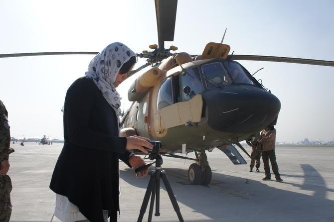 """Kubra Jafari has produced seven documentaries about progress being made in Afghanistan. """"My business is in Afghanistan. Because I'm a woman, it's a little bit tricky,"""" she says."""