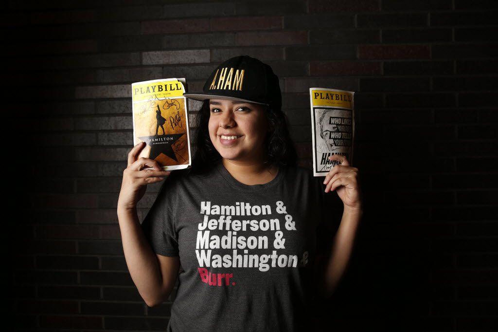Senior Maya Quetzali, a fan of the Broadway musical 'Hamilton,' poses for a photograph with her Hamilton memorabilia at Booker T. Washington High School in Dallas on Jan. 26, 2016.