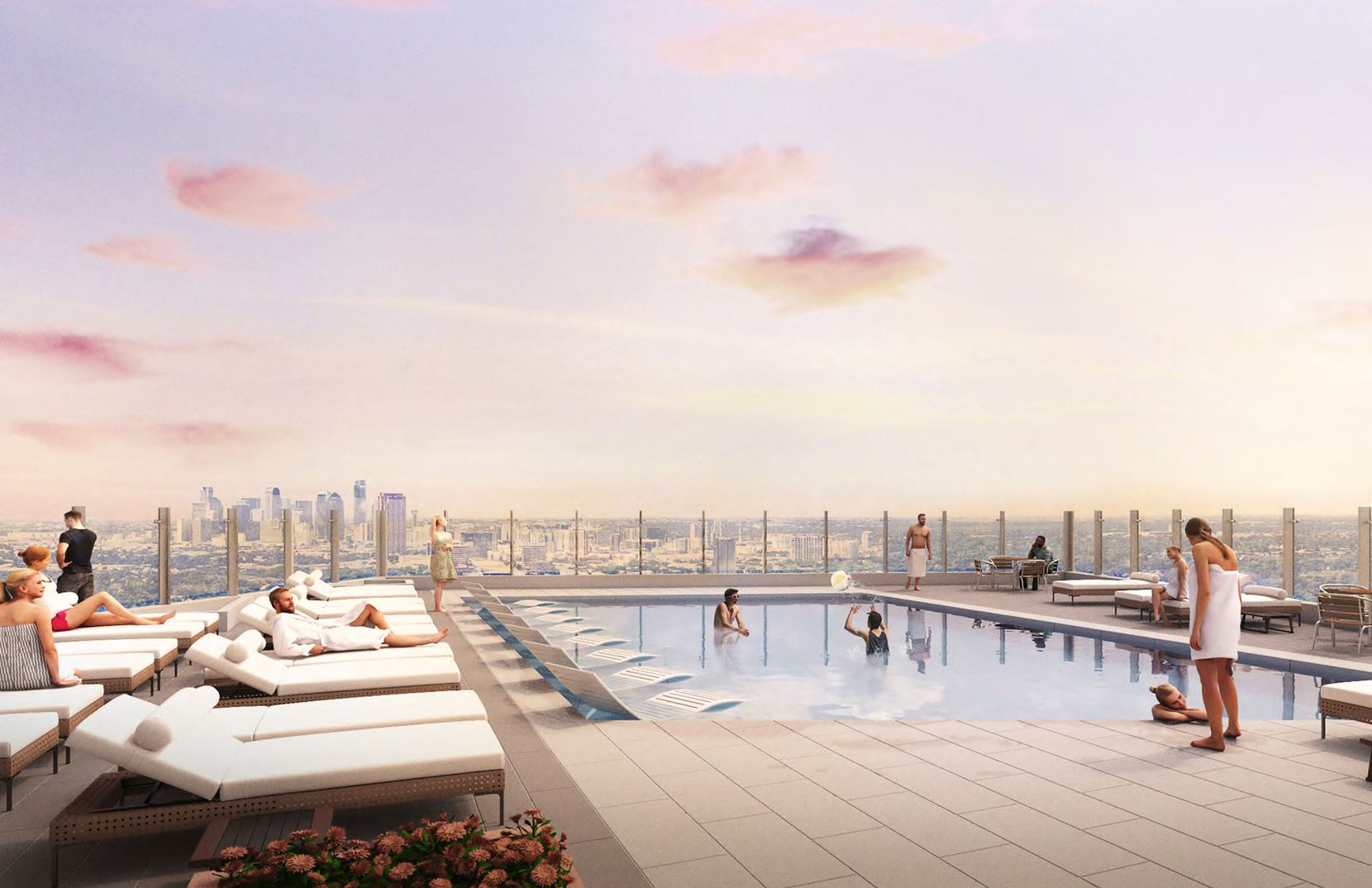 The apartment high-rise will have a rooftop pool.