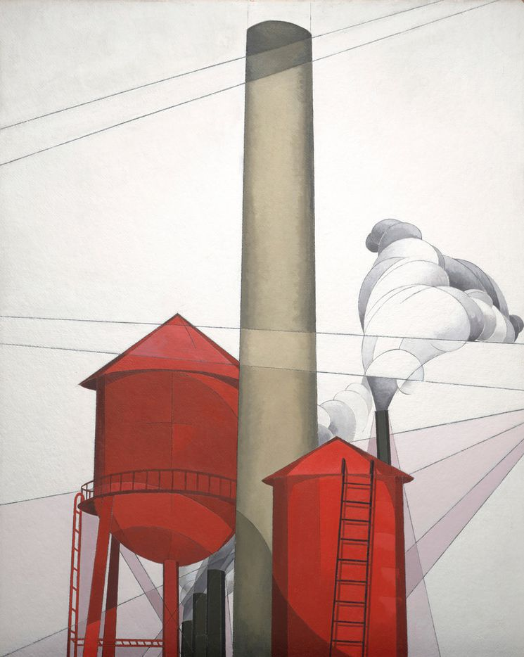 Charles Demuth, Buildings, 1930-31, tempera and plumbago on composition board.