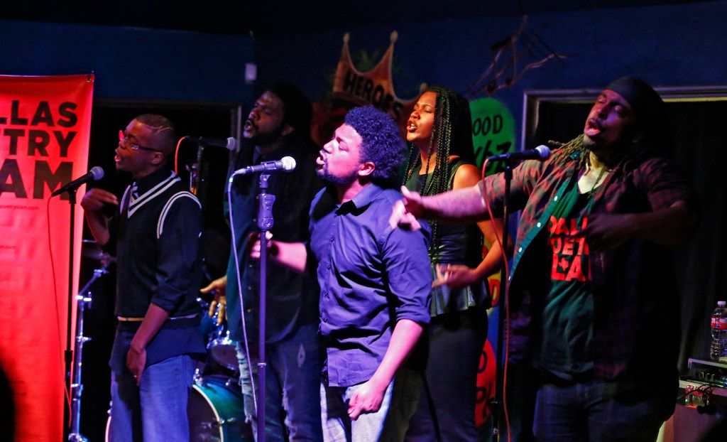 Anthony Siddall, known as AntTheMC (from left), Wayne Henry, Javon Rustin, Melania Luisa and Rage Tench, known as Rage Almighty, perform at an open mike in preparation for the 2017 National Poetry Slam.