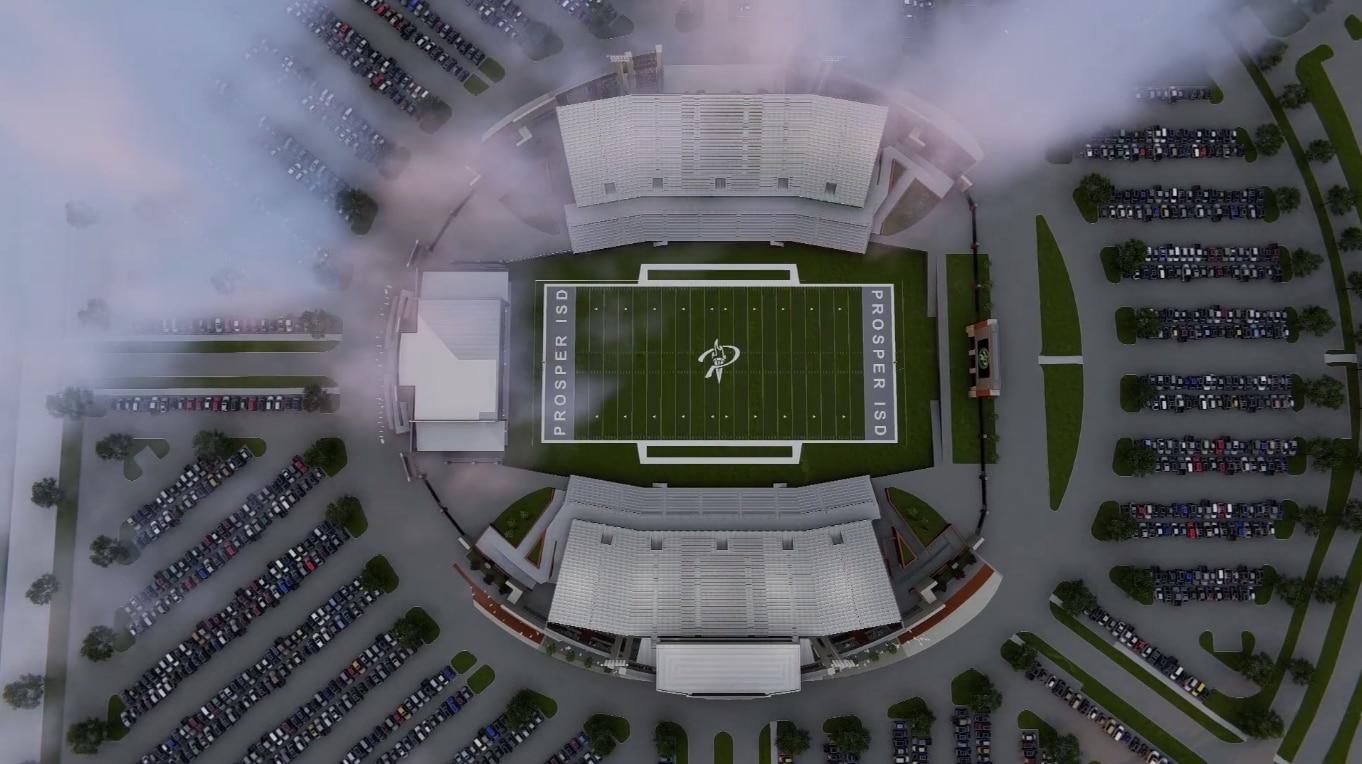 Design of proposed Prosper stadium (via Huckabee).
