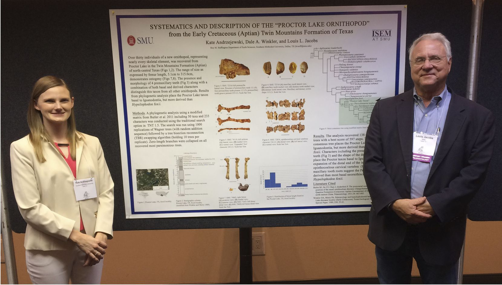 Dr. Kate Andrzejewski (left) and Dr. Louis Jacobs (right) presenting research on C. marri at the Society of Vertebrate Paleontology Annual meeting in Calgary, Alberta in 2017.