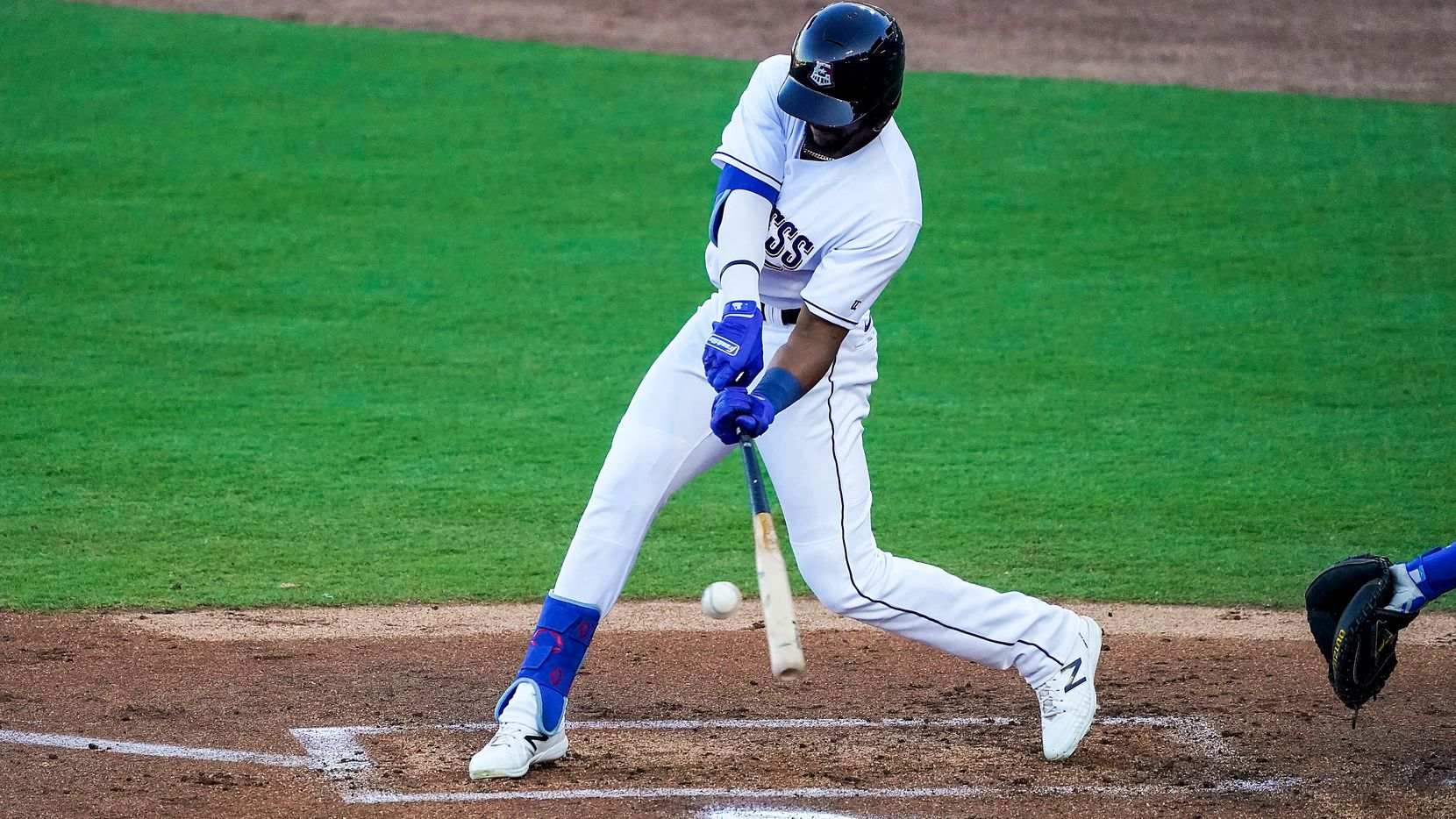 Round Rock Express outfielder Leody Taveras bats during the first inning against the Oklahoma City Dodgers at Dell Diamond on Thursday, May 6, 2021, in Round Rock, Texas. (Smiley N. Pool/The Dallas Morning News)