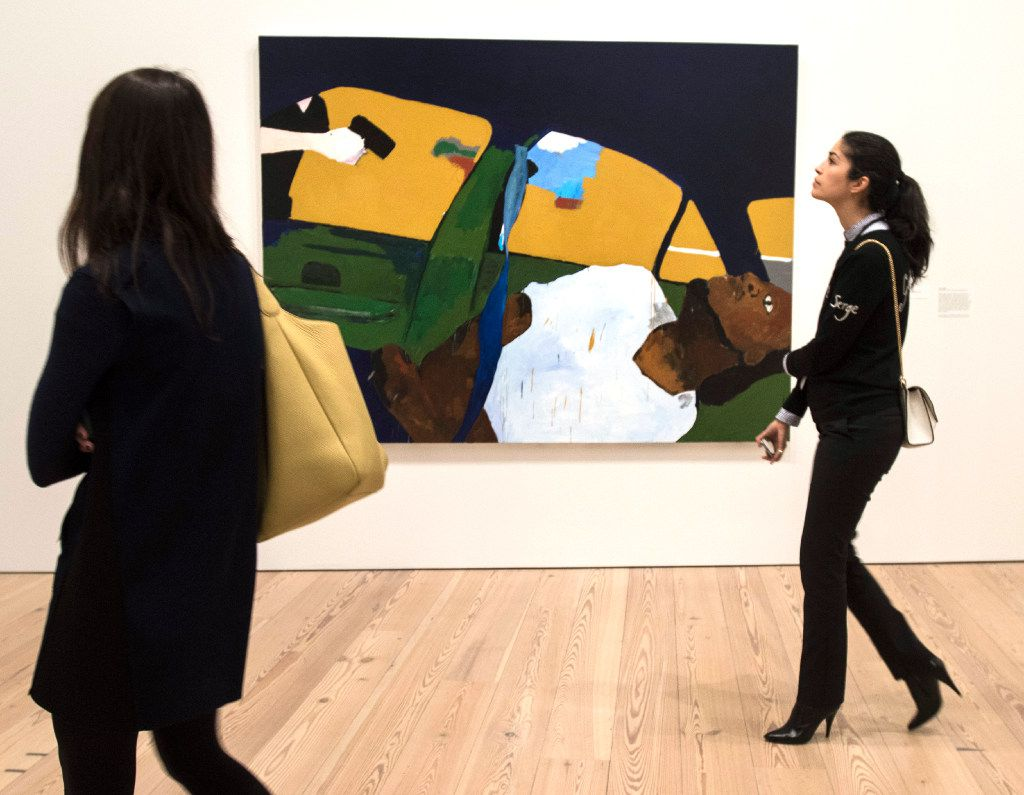 "A painting by Henry Taylor titled The Times Thay Aint a Changing Fast Enough! which depicts the fatal police shooting of Philando Castile, at the Whitney Biennial, Whitney Museum of American Art in New York, March 13, 2017. The controversy surrounding Dana Schutz's painting ""Open Casket,"" based on a horrific photograph of the mutilated body of Emmett Till lying in his coffin, once again raises the question: Who has the right to protest art? (Philip Greenberg/The New York Times)"