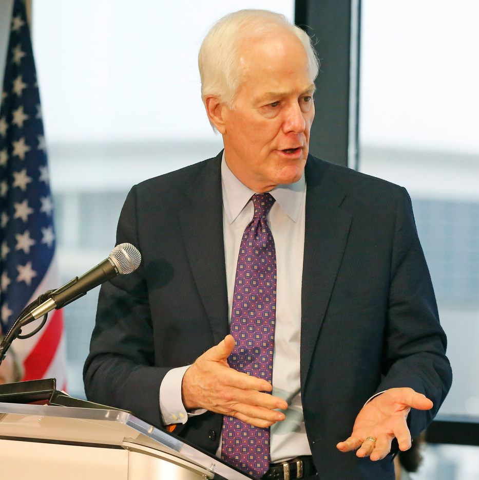 Sen. John Cornyn talks during a press conference at DFW Airport infrastructure improvements, including end-around taxiways, at DFW Airport on Friday, July 27, 2018.