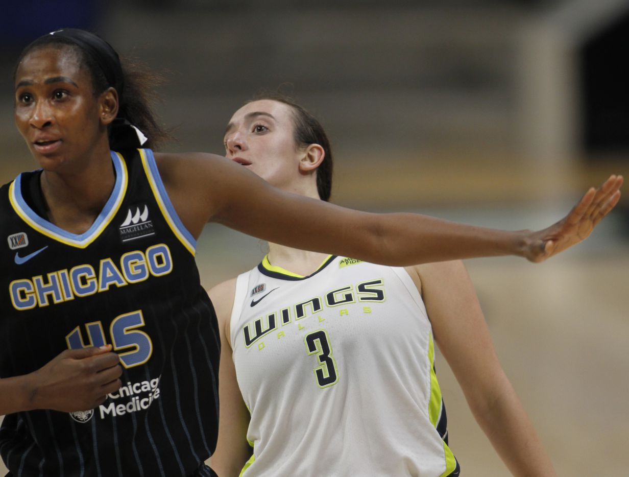 Dallas Wings guard Marina Mabrey (3) watches over the shoulder of Chicago Sky center Astou Ndour-Fall (45) as he 3-point attempt was successful during second half action. Dallas defeated Chicago 100-91. The two WNBA teams played their game at College Park Center in Arlington on July 2, 2021. (Steve Hamm/ Special Contributor)