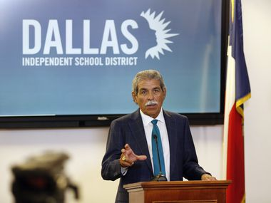 DISD superintendent Michael Hinojosa speaks to the media about starting the school year virtually during a press conference at Dallas ISD headquarters in Dallas on Thursday, August 20, 2020. (Vernon Bryant/The Dallas Morning News)