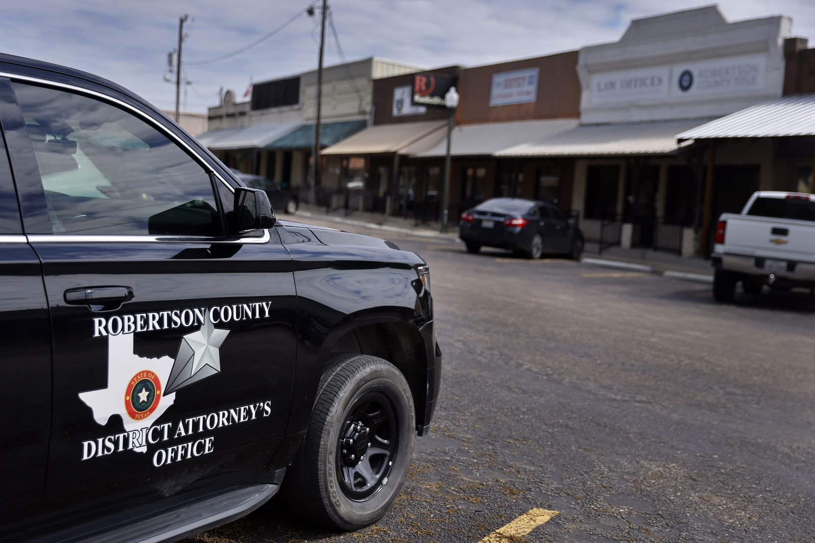 A Robertson County district attorney's office vehicle was parked outside the courthouse in downtown Franklin on May 13, 2021. The complex houses the criminal courts building.