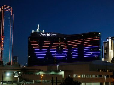 """Vote"" is displayed on the Omni hotel in Dallas on election day, Tuesday, Nov. 6, 2018."