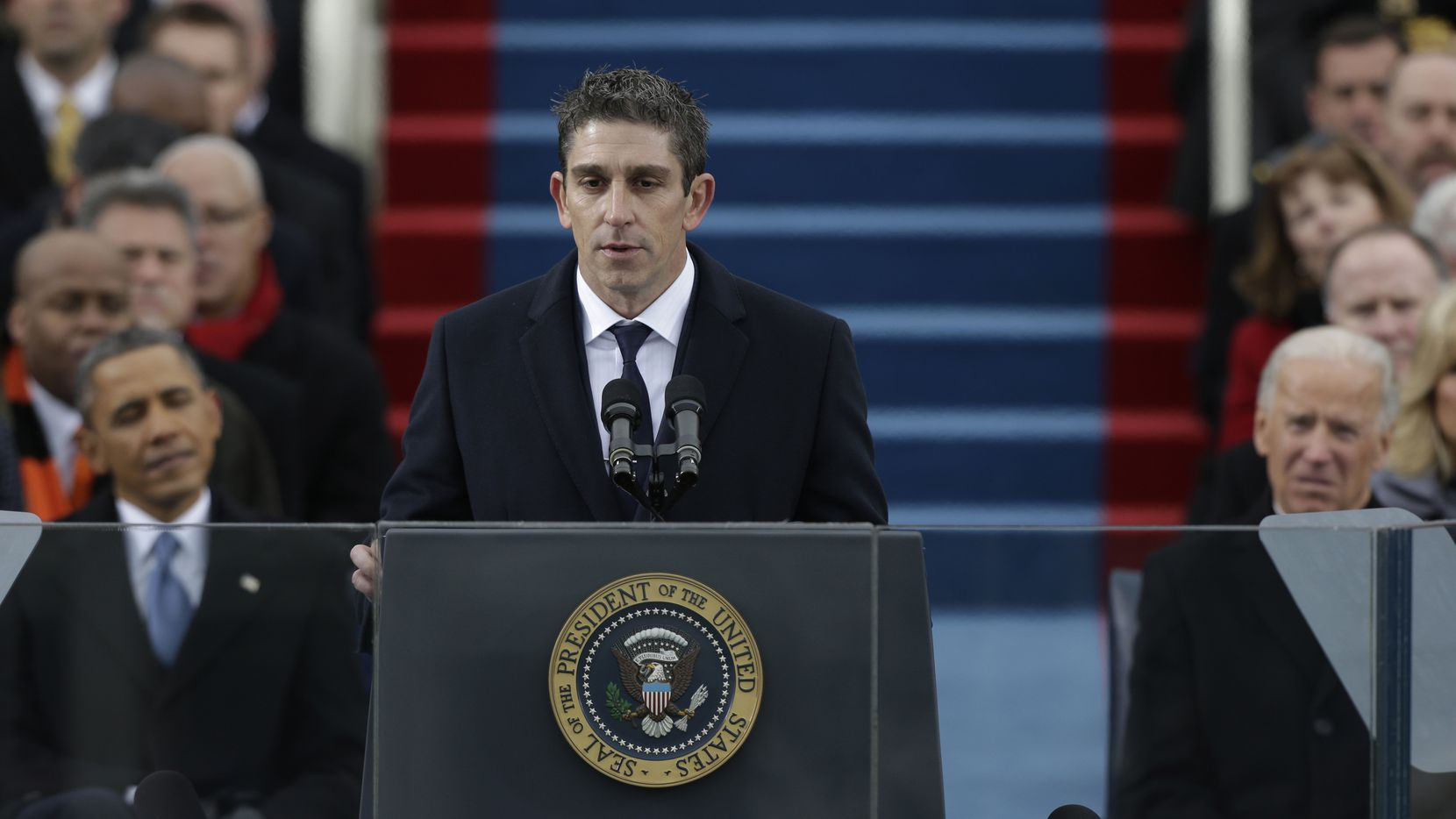 Poet Richard Blanco speaks during the ceremonial swearing-in at the U.S. Capitol during the 57th Presidential Inauguration in Washington, DC on January 21, 2013.