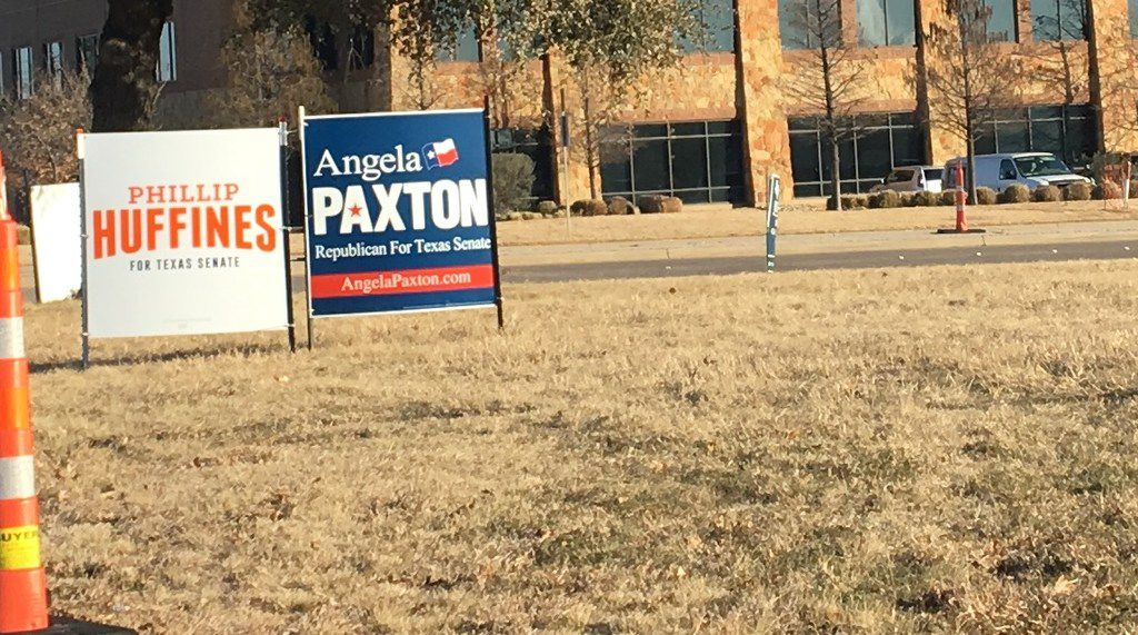 These campaign signs are along Custer Road for Texas Senate candidates Phillip Huffines and Angela Paxton. They were seeking the Republican nomination in the March 6, 2018 primary.