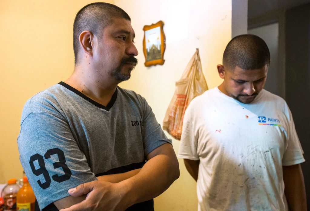 Jose Palma (left) and his son Jose Palma talk about their family's ordeal.  They found out that the man who sold them their Pine Street home was not the owner.