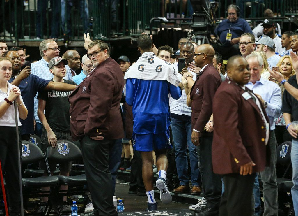 Dallas Mavericks forward Harrison Barnes (40) walks off of the court following a matchup between the Dallas Mavericks and the Charolette Hornets on Wednesday, Feb. 6, 2019 at the American Airlines Center in Dallas. (Ryan Michalesko/The Dallas Morning News)