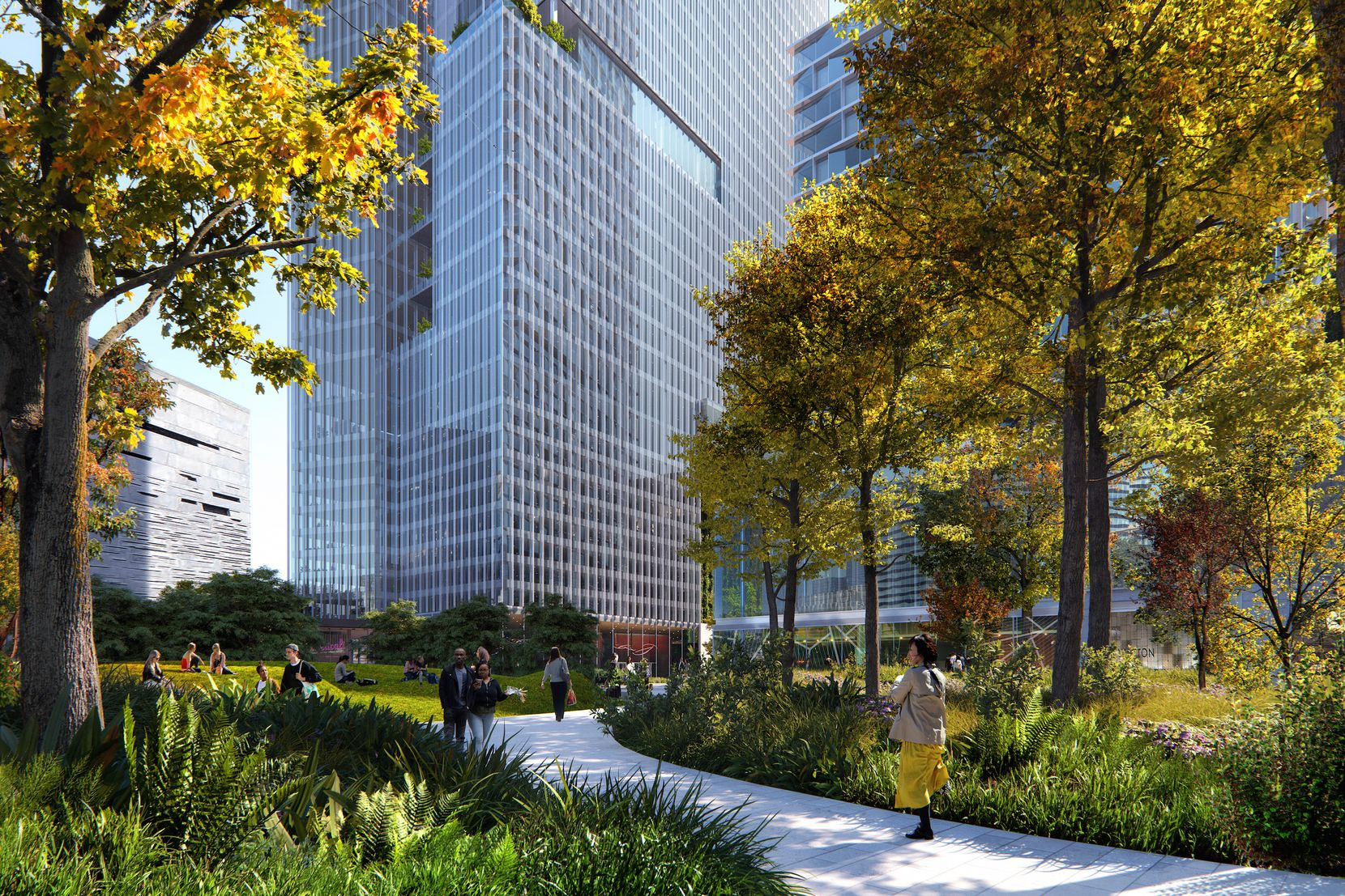 The planned park will include trees, water and public space.