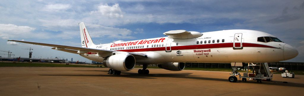 Honeywell Aerospace's Boeing 757 made a stop at Dallas' Love Field as part of a 26-city tour to visit clients and potential customers.