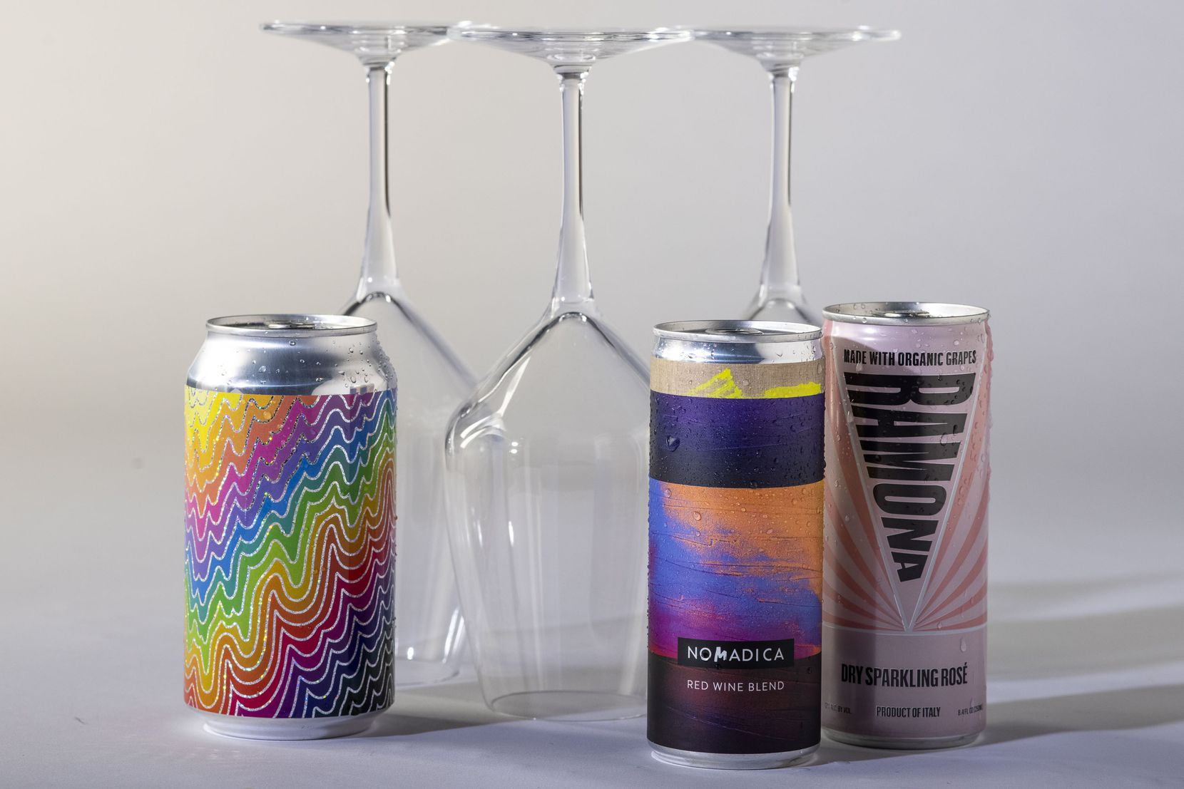 The wine panel's selections of canned wines are photographed at The Dallas Morning News in Dallas on Thursday, July 8, 2021. (Lynda M. González/The Dallas Morning News)