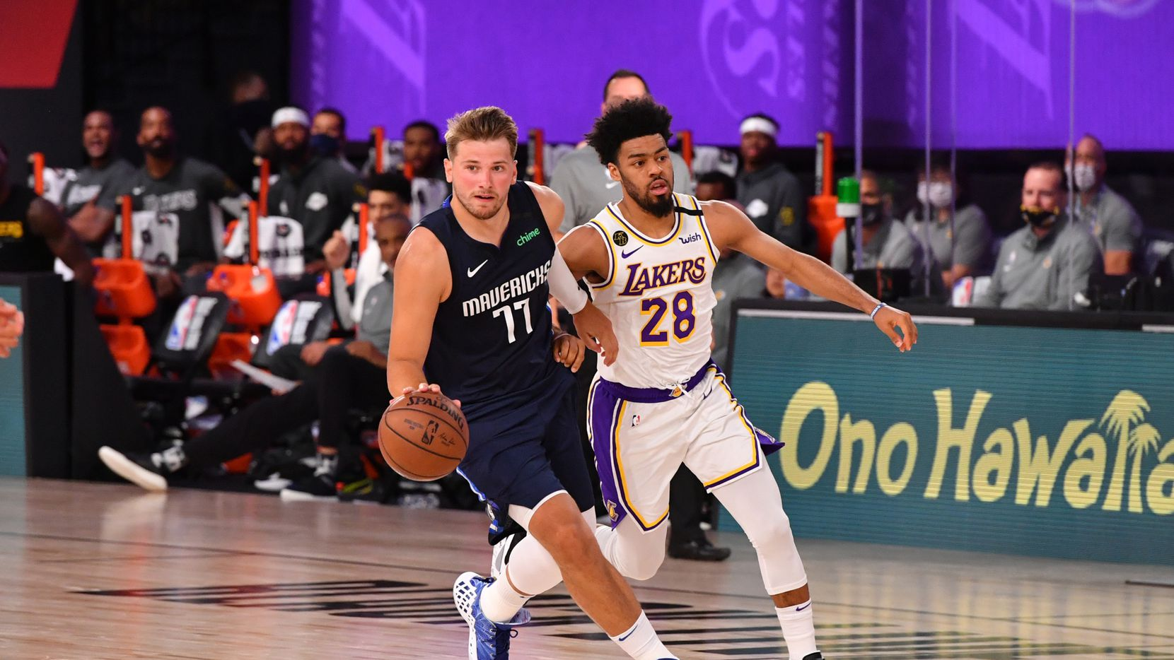 Luka Doncic #77 of the Dallas Mavericks drives to the basket against the Los Angeles Lakers on July 23, 2020 at the Visa Athletic Center at ESPN Wide World of Sports Complex in Orlando, Florida.
