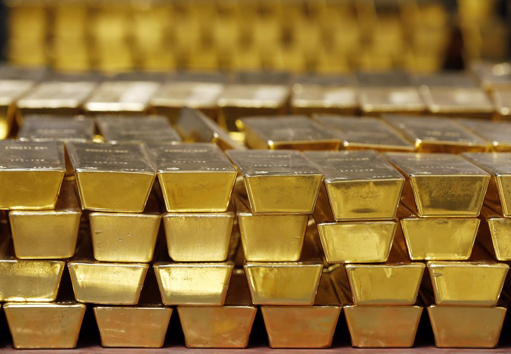 Gold bars are stacked in a vault at the U.S. West Point on Tuesday, July 22, 2014, in West Point, N.Y. (AP Photo)