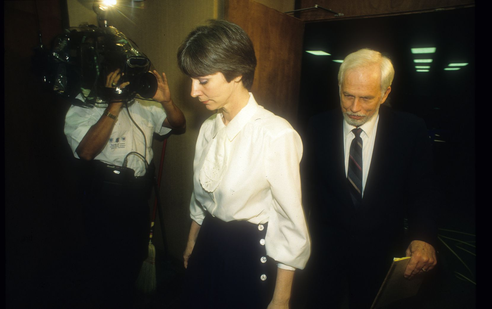 """Frances """"Fran"""" and Daniel """"Dan"""" Keller leave the courtroom in 1992 following testimony in their sexual assault trial."""
