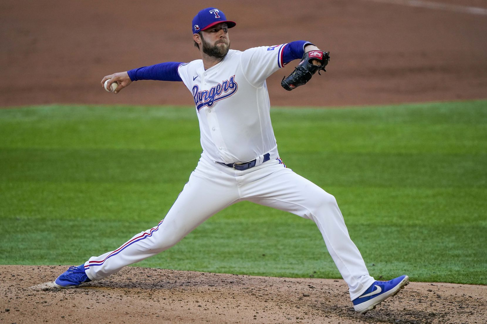 Jordan Lyles pitches in an intrasquad game during Texas Rangers Summer Camp at Globe Life Field on Friday, July 17, 2020.