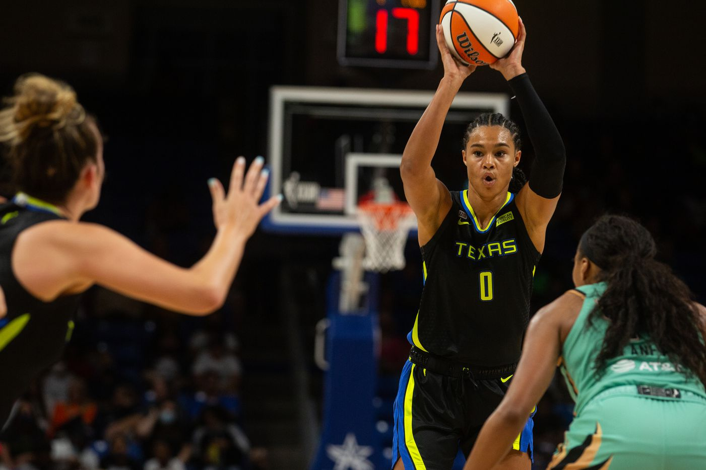Dallas Wings forward Satou Sabally looks for a pass during their game against New York Liberty at College Park Center in Arlington, TX on September 11, 2021.  (Shelby Tauber/Special Contributor)