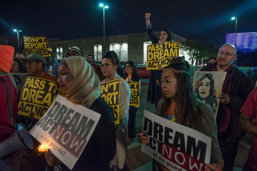 Protesters  gathered for a a vigil in support of DACA at Dallas City Hall in March.