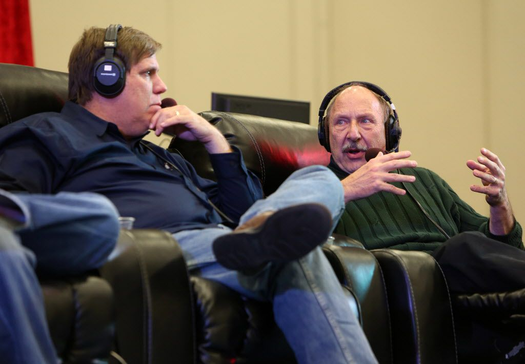 The Ticket Sports Radio personalities, George Dunham, left, and Norm Hitzges, right, speak during a panel discussion celebrating the 20th anniversary of the station at Dallas Convention Center in Dallas, Texas, Friday, January 24, 2014.