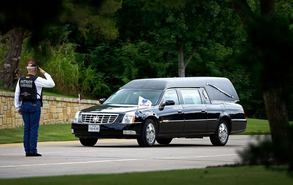 A hearse carrying US Army Pvt. Kenneth D. Farris killed during World War II in Germany arrives Dallas-Forth Worth National Cemetery for a burial ceremony in Dallas, Monday, July 9, 2018. Pvt. Farris has his remains identified on April 23, 2018. (Jae S. Lee/The Dallas Morning News)