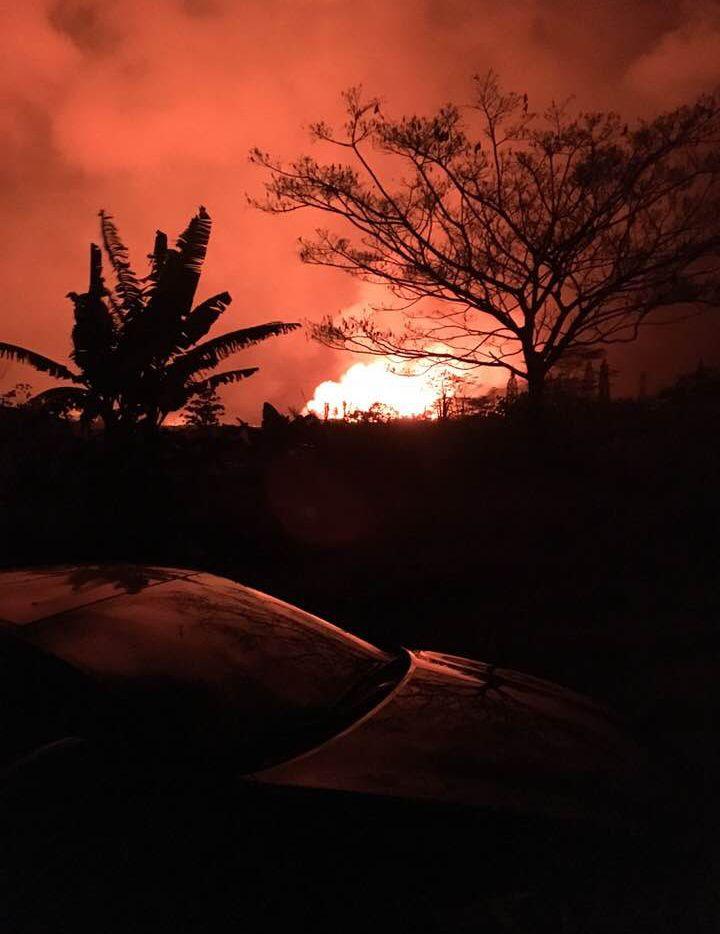 Lava flows near John Davidson and David Burke's home near Pahoa, Hawaii.