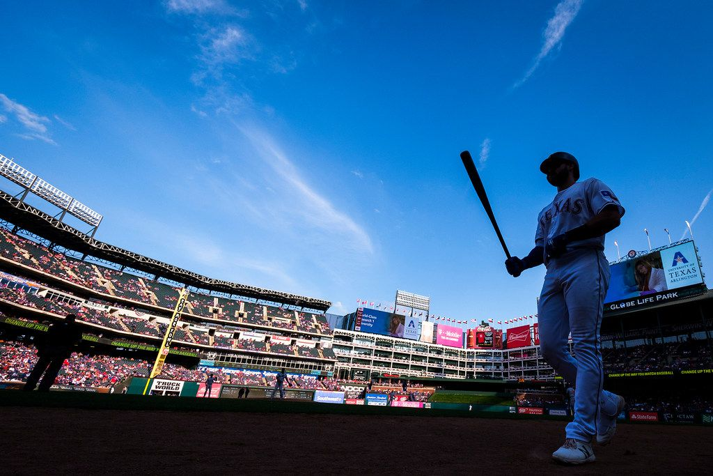 Texas Rangers left fielder Joey Gallo head to the on deck circle during the ninth inning against the Chicago Cubs at Globe Life Park on Thursday, March 28, 2019, in Arlington. (Smiley N. Pool/The Dallas Morning News)