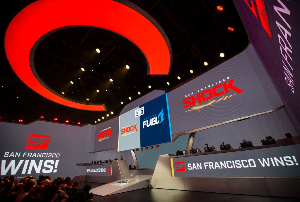 The San Francisco Shock win the third game during an Overwatch League match between the Dallas Fuel and the San Francisco Shock on Sunday, August 11, 2019 at Blizzard Arena in Burbank, California. (Ashley Landis/The Dallas Morning News)