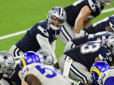 Dak Prescott #4 of the Dallas Cowboys stands under center during the second half against the Los Angeles Rams at SoFi Stadium on September 13, 2020 in Inglewood, California.