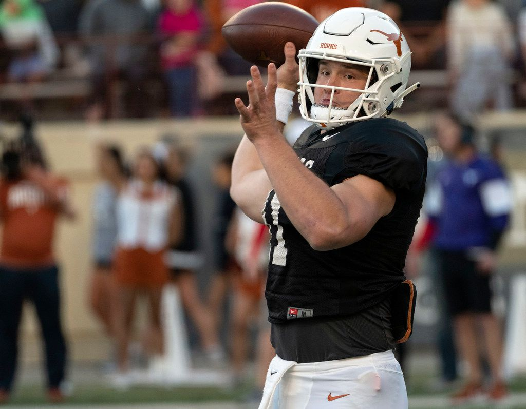 University of Texas  quarterback Sam Ehlinger (11) pass during the Orange and White spring game held at Darrel K Royal Texas Memorial Stadium on Saturday, April, 13, 2019, in Austin, Texas.  (Rodolfo Gonzalez/ Special Contributor)