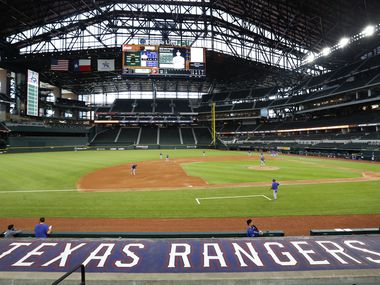 The Texas Rangers played a simulated game at Summer Camp inside Globe Life Field in Arlington, Texas, Thursday, July 9, 2020. (Tom Fox/The Dallas Morning News)