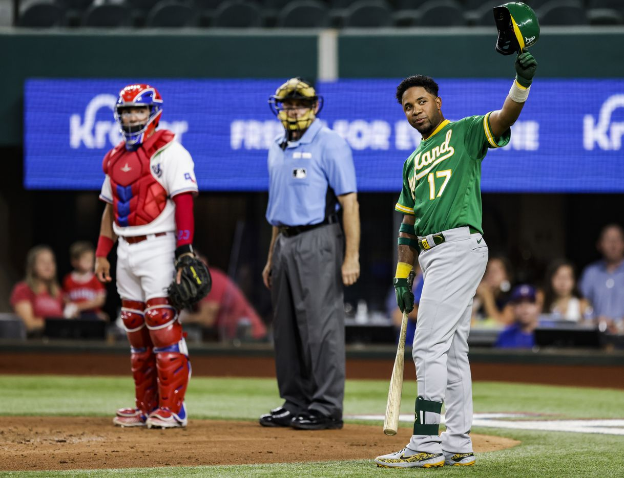 Oakland Athletics' Elvis Andrus (17) acknowledges the fans before his first at bat during the second inning of a baseball game against the Texas Rangers in Arlington, Monday, June 21, 2021. (Brandon Wade/Special Contributor)