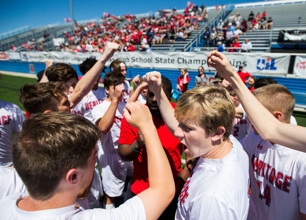 Midlothian Heritage chants before a UIL conference 4A boys state championship soccer game between Midlothian Heritage High School and San Elizario High School on Friday, April 19, 2019 at Birkelbach Field in Georgetown, Texas. (Ashley Landis/The Dallas Morning News)
