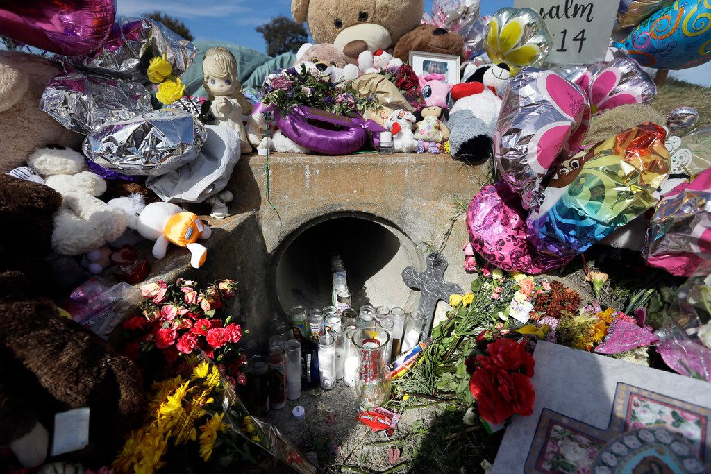 A culvert where 3-year-old Sherin Mathews was found in Richardson in late October 2017 became a memorial to her.