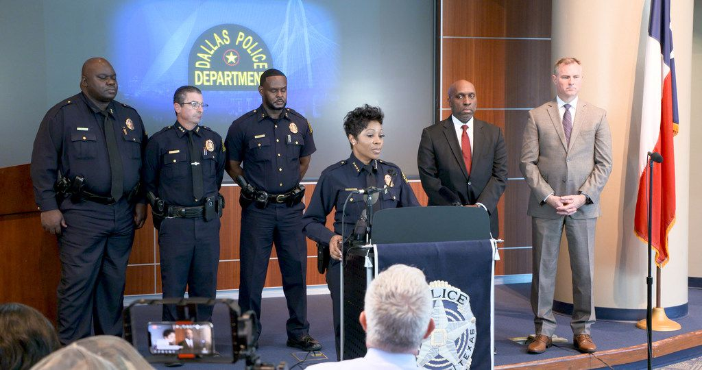 Dallas Police Chief U. Renee Hall holds a press conference at Dallas Police Headquarters in Dallas, Texas on Oct. 2, 2019. Chief Hall announced an internal affairs investigation will begin in the department after revelations that were revealed in the Amber Guyger murder trial.  Listening behind her (2nd from right) is Dallas City Manager T.C. Broadnax.