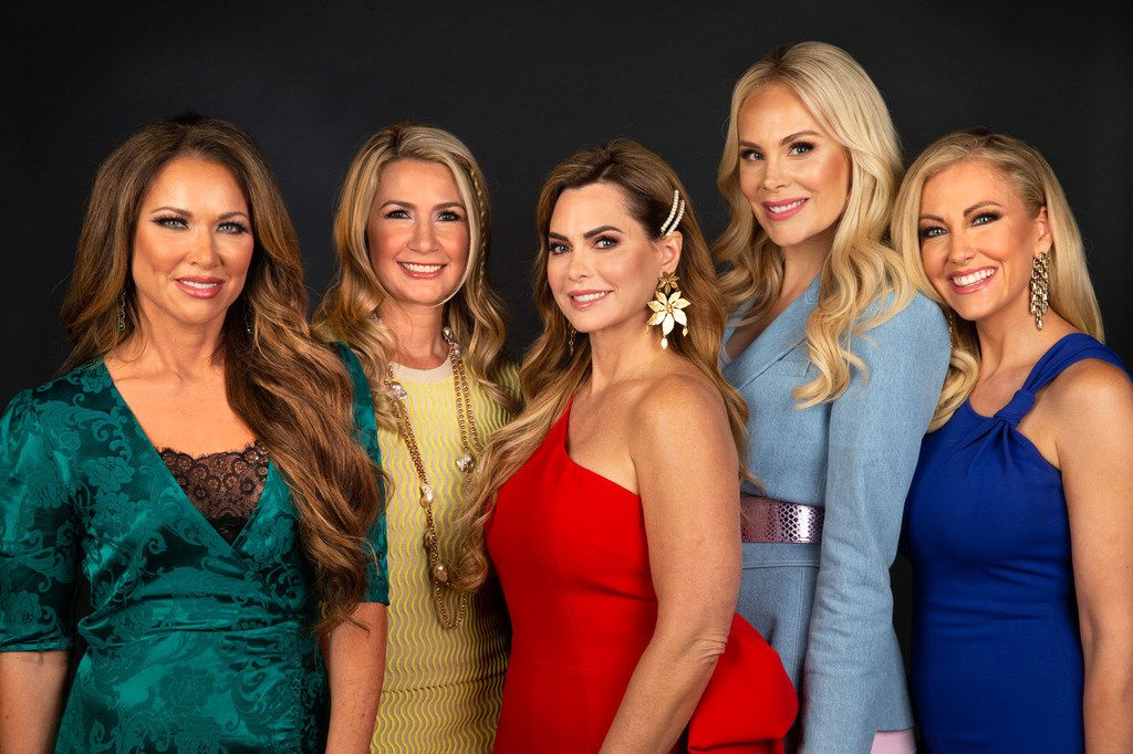 The 2019 lineup of 'Real Housewives of Dallas' on Bravo included (from left) LeeAnne Locken, Kary Brittingham, D'Andra Simmons, Kameron Westcott and Stephanie Hollman. Not pictured is Brandi Redmond. Dr. Tiffany Moon was added in the show's final season.