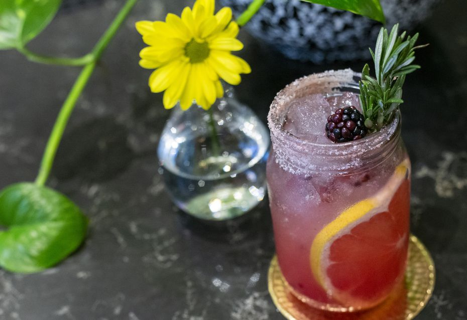 One of Flower Child's mocktails is the nonalcoholic rosemary-grapefruit soda.